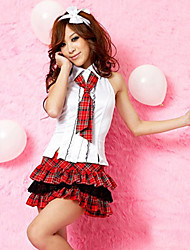 Naughty Student Sleeveless Shirt Red Check Pattern Skirt School Girl Uniform