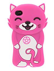 Sourire de chat 3D Etui en silicone pour iPhone 4/4S (couleurs assorties)
