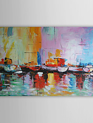 Oil Paintings One Panel Abstract Boats on Shoreside  Hand-painted Canvas Ready to Hang