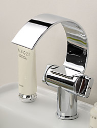 Bathroom Sink Faucet with Brass Chrome Finish Waterfall Curve Spout Contemporary Design Bathroom Sink Faucet