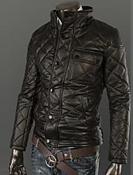 Мужская стенд воротник бархатом внутри толстой куртке PU