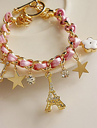 Exquisite Eiffel Tower Poker Star Bracelet en cuir en alliage (plus de couleurs)