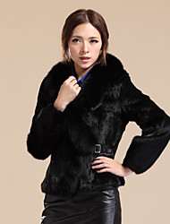 Long Sleeve Fox Fur Shawl Collar Rabbit Fur Casual/Party Jacket (More Colors)