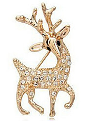 Women's  Beautiful sparkling deer diamond brooch X28