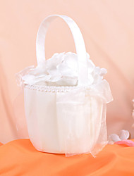 Flower Basket In Ivory Satin And Organza With Faux Pearl And Bow Flower Girl Basket