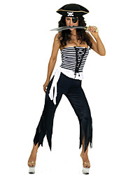 Cruel Pirate Strapless Top Black and White Outfit Women's Halloween Costume