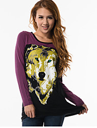 animal print camiseta del negro de las mujeres fitspace