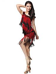 Vêtements Viscose Latin Dance robe une épaule avec des glands pour les dames