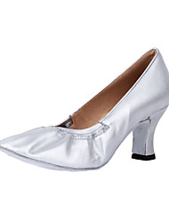 Women's Dance Shoes Modern/Ballroom Leatherette Heel Silver Customizable