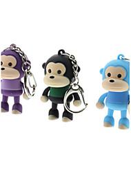 ABS Porte-clés en forme de singe avec LED et voix (couleur aléatoire)