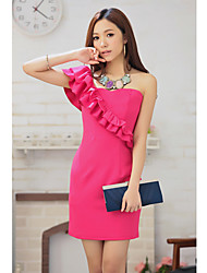 Women's Formal Sexy Sheath Dress,Solid One Shoulder Mini Pink / Beige Cotton / Polyester All Seasons