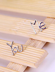 Korean jewelry silver stud earrings YOU ME letters E817