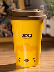 Cartoon Lion Mug with Flexible Glue Cover Cup