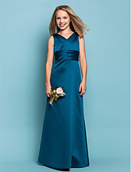 Lanting Bride® Floor-length Satin Junior Bridesmaid Dress Sheath / Column V-neck Natural with Sash / Ribbon / Criss Cross / Ruching
