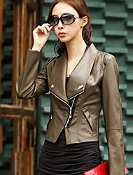 QCQX Fashion Brown Bodycon Slim Jacket Coat