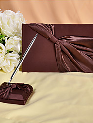 Rich Chocolate Brown Guest Book and Pen Set Sign In Book
