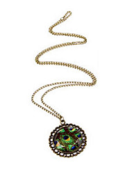 Love fashion jewelry gemstone peacock feathers round retro sweater chain necklace N225