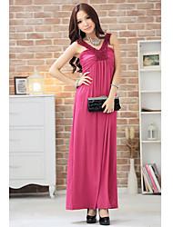 Elegante Halter cintura alta Maxi vestido das mulheres