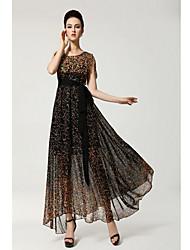 Women's Simplicity Print Chiffon Maxi Dress