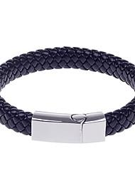 Pulsera tejida L011 moda sencilla cuero de la PU de los hombres de acero de titanio - Negro + Plata