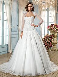 Lan Ting A-line/Princess Plus Sizes Wedding Dress - Ivory Sweep/Brush Train Sweetheart Tulle/Lace