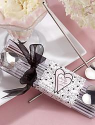 Agitar um lil amor prata agitadores de palha Coração