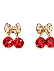 Earring Stud Earrings Jewelry Women Party / Daily Crystal / Alloy Red