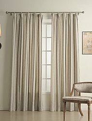 (Two Panels) Traditional Stripe Linen / Cotton Energy Saving Curtain