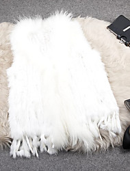 Fur Vest With Fashion Sleeveless Collarless Rabbit Fur Party/Casual Vest(More Colors)