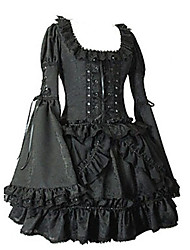 Long Flare Sleeve Short Black Cotton Gothic Lolita Dress