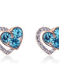 Lureme®Heart Shape Crystals Earrings