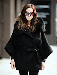 Women's Hooded Detachable Fur Collar Long Sleeve Outwear with Belt