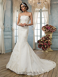 Mermaid / Trumpet Strapless Court Train Lace Satin Wedding Dress by LAN TING BRIDE®