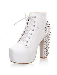 Lace up platform pumps fashion ankle boots for women shoes chunky high heels rivets spikes