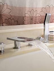 Contemporain Couleur Finition Chrome Changement LED Robinet de baignoire cascade