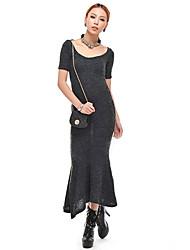 Frauen Shirt Scoop Neck Mantel Fischschwanz Kleid Maxi Kleid