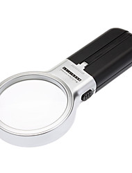 Hand-held Super Clear Magnifier with 2 LED Lights(Black)