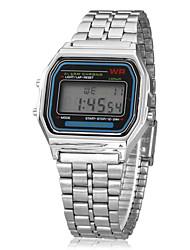 Hombre Reloj de Pulsera Reloj digital LCD Calendario Cronógrafo alarma Digital Aleación Banda Plata
