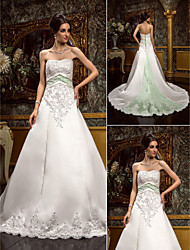 Lan Ting A-line Plus Sizes Wedding Dress - Ivory Chapel Train Sweetheart Satin/Lace