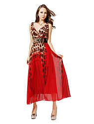 WEDDING HOUSE Frauen Sexy V-Ausschnitt, langen Kleid Leopard Inkl. Gürtel