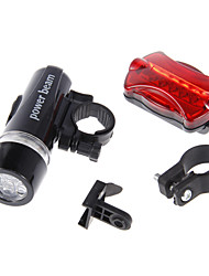 Multi-funksjonell Vanntett 5 LED Bike Head Light + bak lommelykt