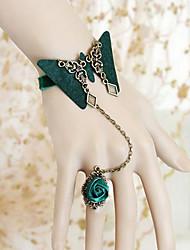 Bracelet manchette de fleur de papillon vert noirâtre