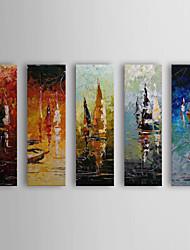 Pintados à mão pintura a óleo com moldura abstracta Vessels esticada conjunto de 5 1309-AB0944