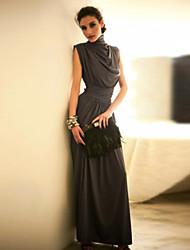 Women's Stand Collar Pleats High Waist Maxi Dress