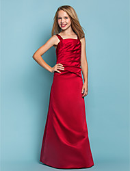 Floor-length Satin Junior Bridesmaid Dress - Burgundy A-line Straps