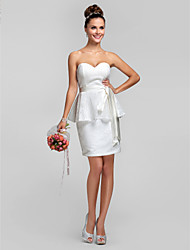 Lanting Bride® Knee-length Lace Bridesmaid Dress - Sheath / Column Sweetheart Plus Size / Petite with Lace / Sash / Ribbon