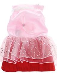 LED elegante vestido de noiva rosa de incandescência com Bowknot para cães Animais de estimação (tamanhos variados)