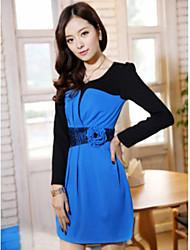 JANE FANS grande del tamaño de manga larga vestido de Slim (modelo del cordón azar, sin collar)