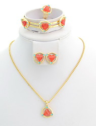 China Wholesale Red / Blue Heart Rhinestone Alloy Chidren Setincluding Jóias Colar, pulseira, anel, brincos