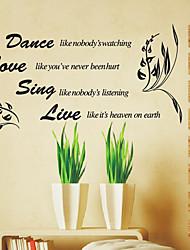 Aimez la danse chanter en direct mots Stickers muraux
